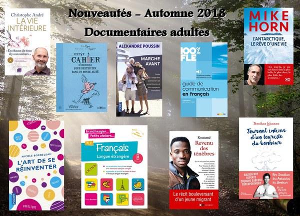 Nouveautés - Documentaires adultes automne 2018