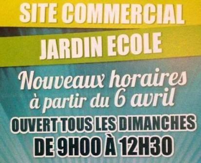 Horaire Site commercial jardin ecole